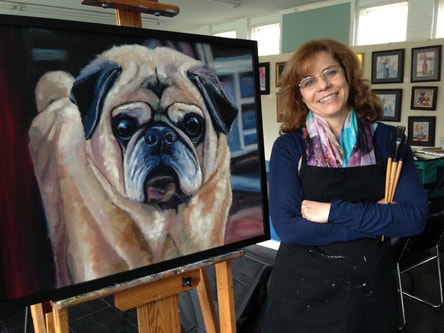 Linda  Marino, artist, art instructor, Connecticut artist, oil paintings, acrylic paintings, art instruction, online painting lessons, custom pet portraits, commissioned dog painting