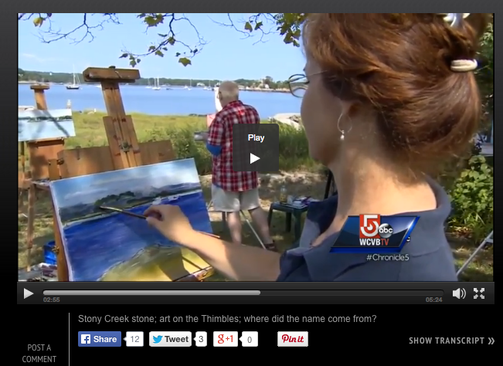 Painting en plein air, outdoors on WCVB Channel 5 Boston Linda S. Marino
