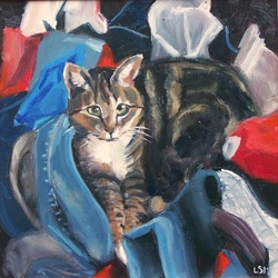 Pet Portraits paintings  by Linda S. Marino, chloe the cat painting, oil painting, custom pet portraits