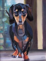 Pet Portraits painting  by Linda S. Marino, dashhound dog painting, oil painting, custom pet portraits