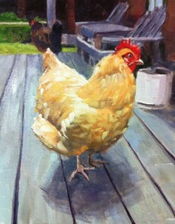 Pet Portraits painting  by Linda S. Marino, chicken painting, oil painting, custom pet portraits