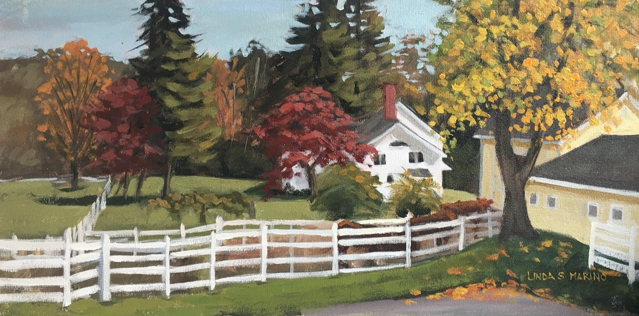 Painting of fall farm scene in New England by Linda S Marino
