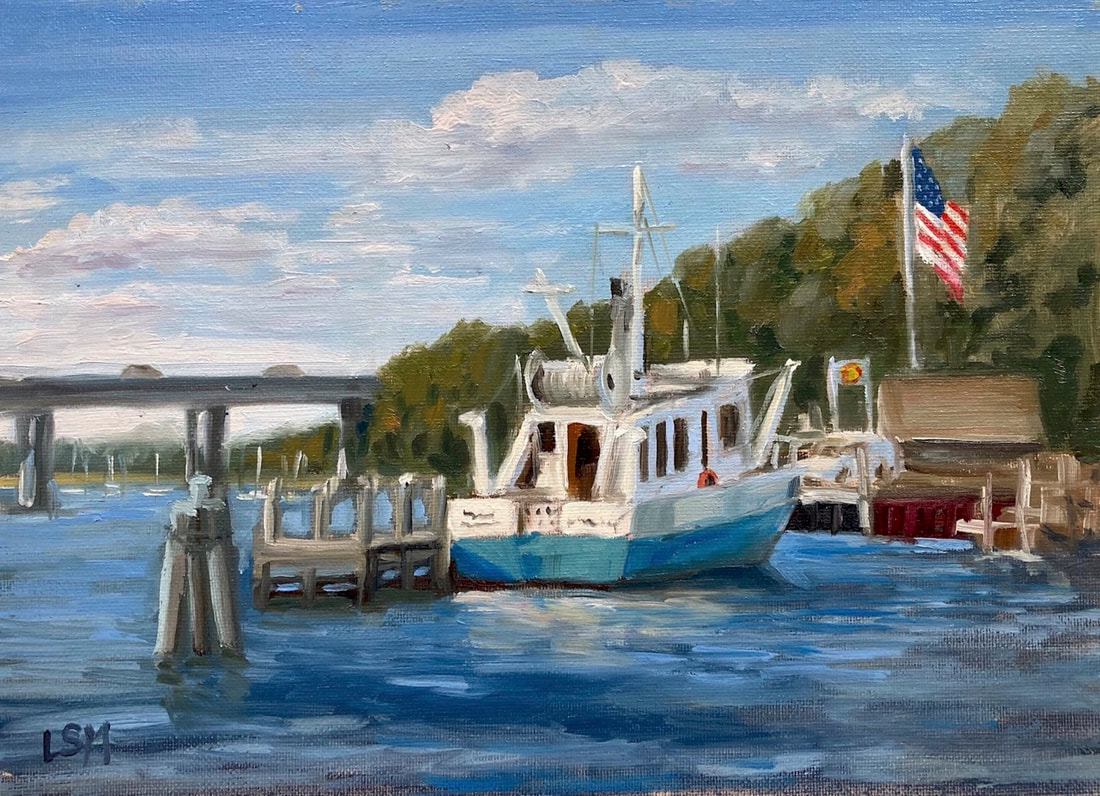 Boat painting on CT river, Old Lyme with American Flag and bridge, by Linda S Marino