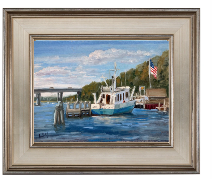 oil-painting-in-frame-boat-on-river-with-american-flag-by-Linda-S-Marino