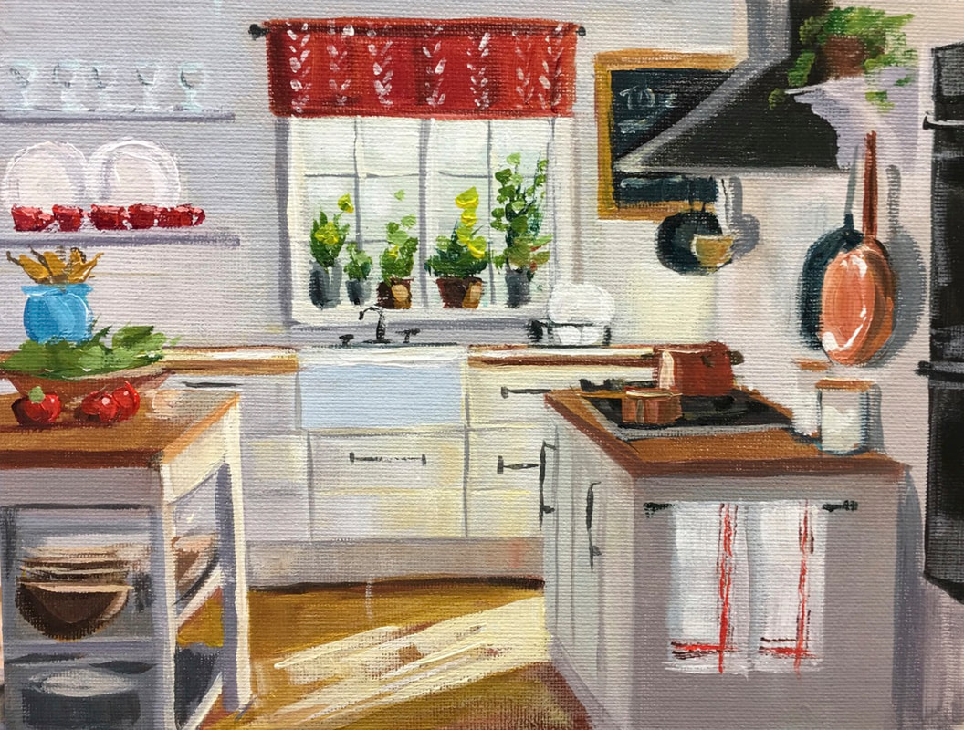 Kitchen Interior Acrylic Painting by Linda S Marino