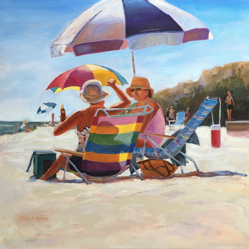 Beach Therapy, acrylic painting of two ladies at the beach under a purple umbrella by Linda S Marino