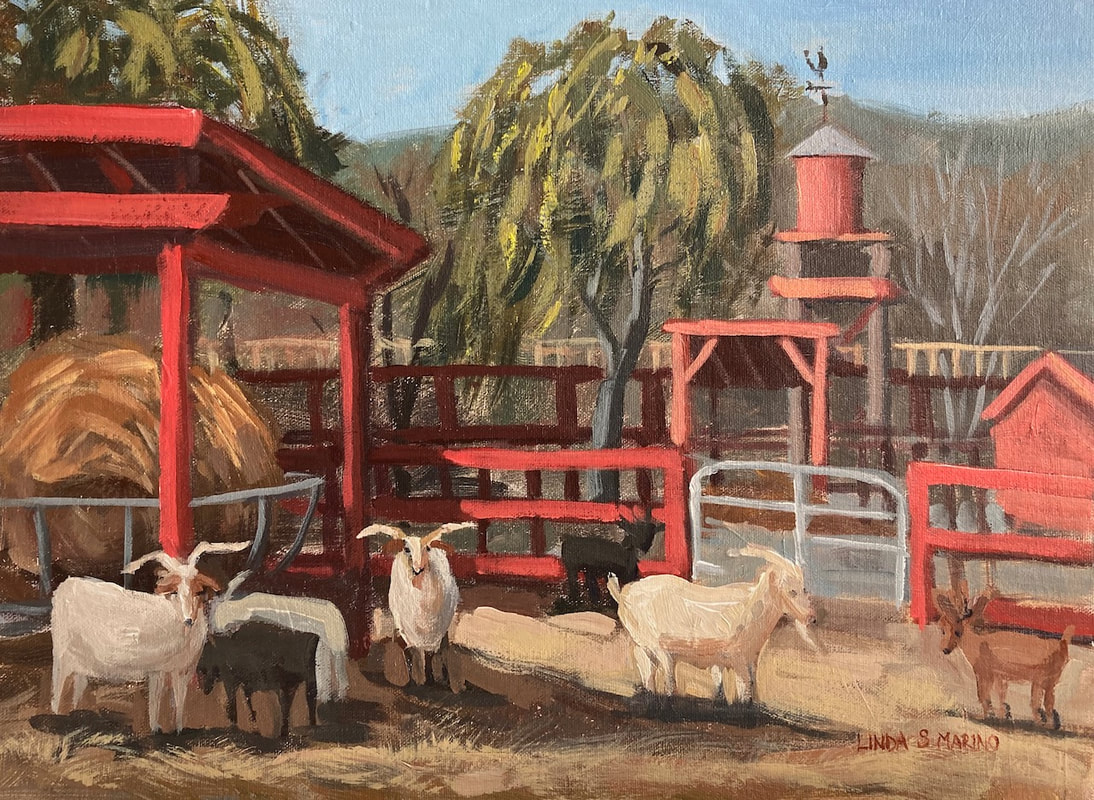 Painting of farm animals, billy goats at farm in Easton CT in acrylic by Linda S Marino