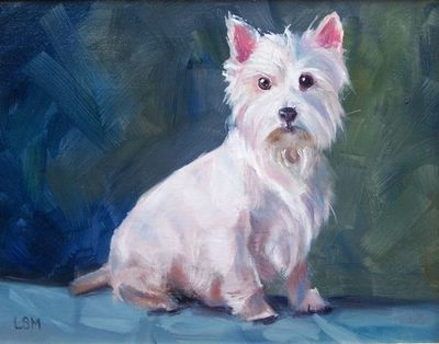 pet portait painting by Linda S. Marino, oil painting, Westie dog painting, custom pet portraits