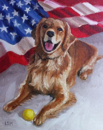 Pet Portraits painting  by Linda S. Marino, golden retriever painting, american flag, oil painting, custom pet portraits