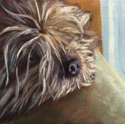 Custom pet portrait painting in oil by Linda S Marino