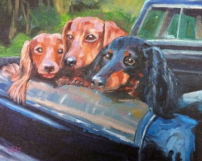 Pet Portraits painting by Linda S. Marino, dashhaund dogs, oil painting, custom pet portraits