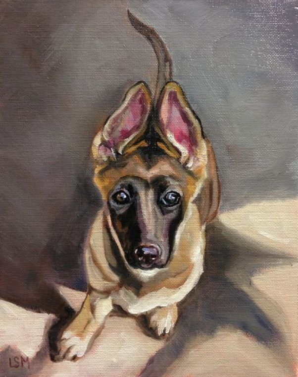 German Shepherd Oil Painting by Linda S Marino