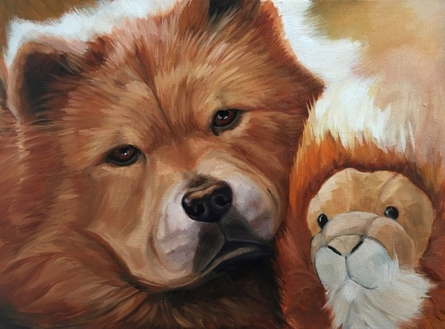 Chow Chow pet portrait painting in oil by Linda S. Marino, chow chow, custom dog portrait