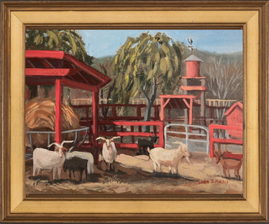 Painting of Farm animals in farm, billy goats with red fencing Silverman's Farm, Easton, by Linda S Marino
