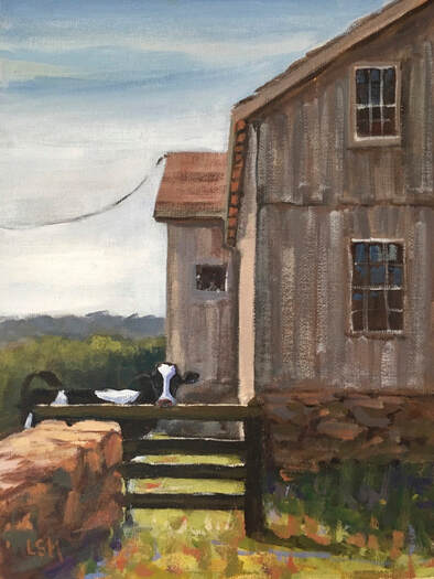 Painting of cow behind the barn original artwork by Linda S Marino