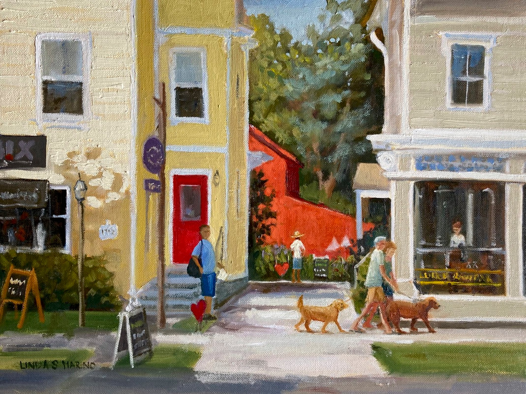 Original Oil painting of Guilford CT by Linda S Marino