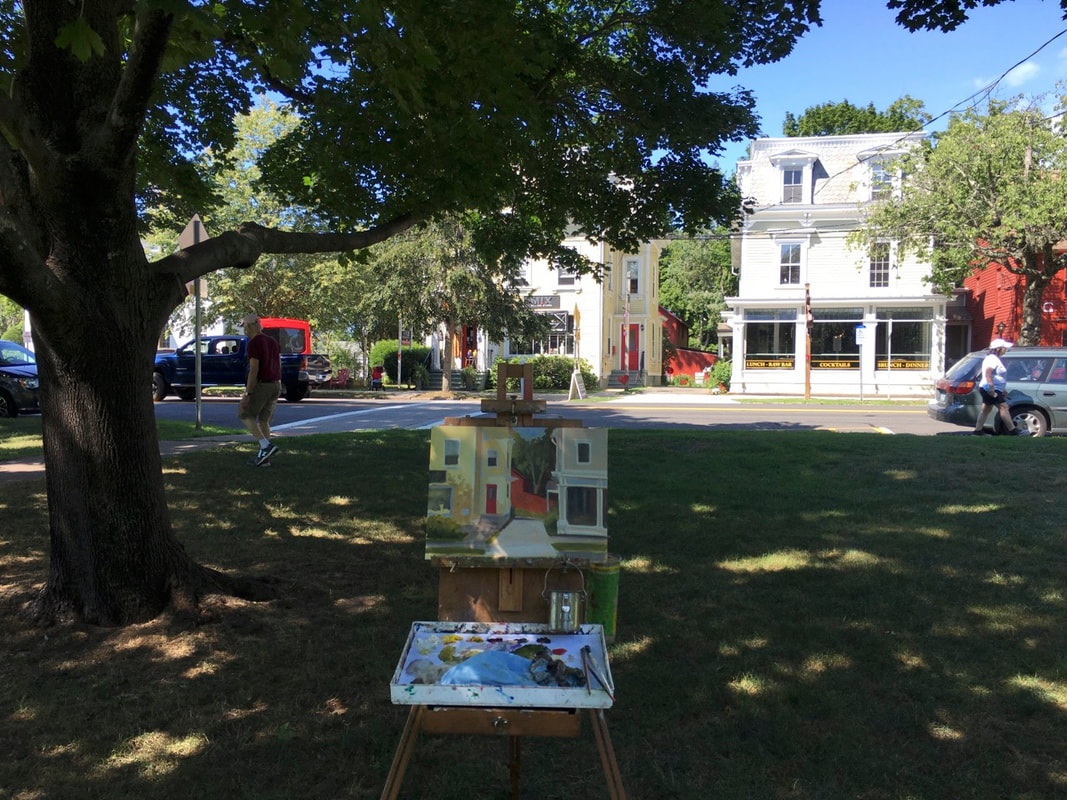 Linda Marino's easel on Guilford Green in Guilford, CT