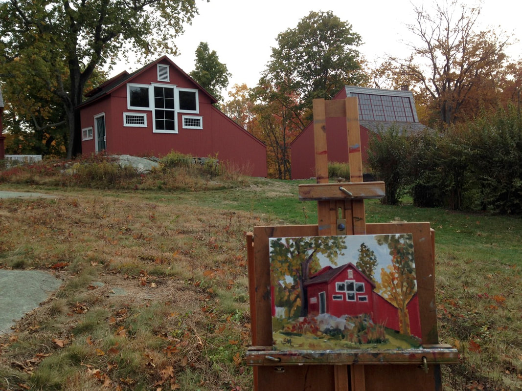 Linda Marino's easel painting on location at Weir Farm Ridgefield, CT