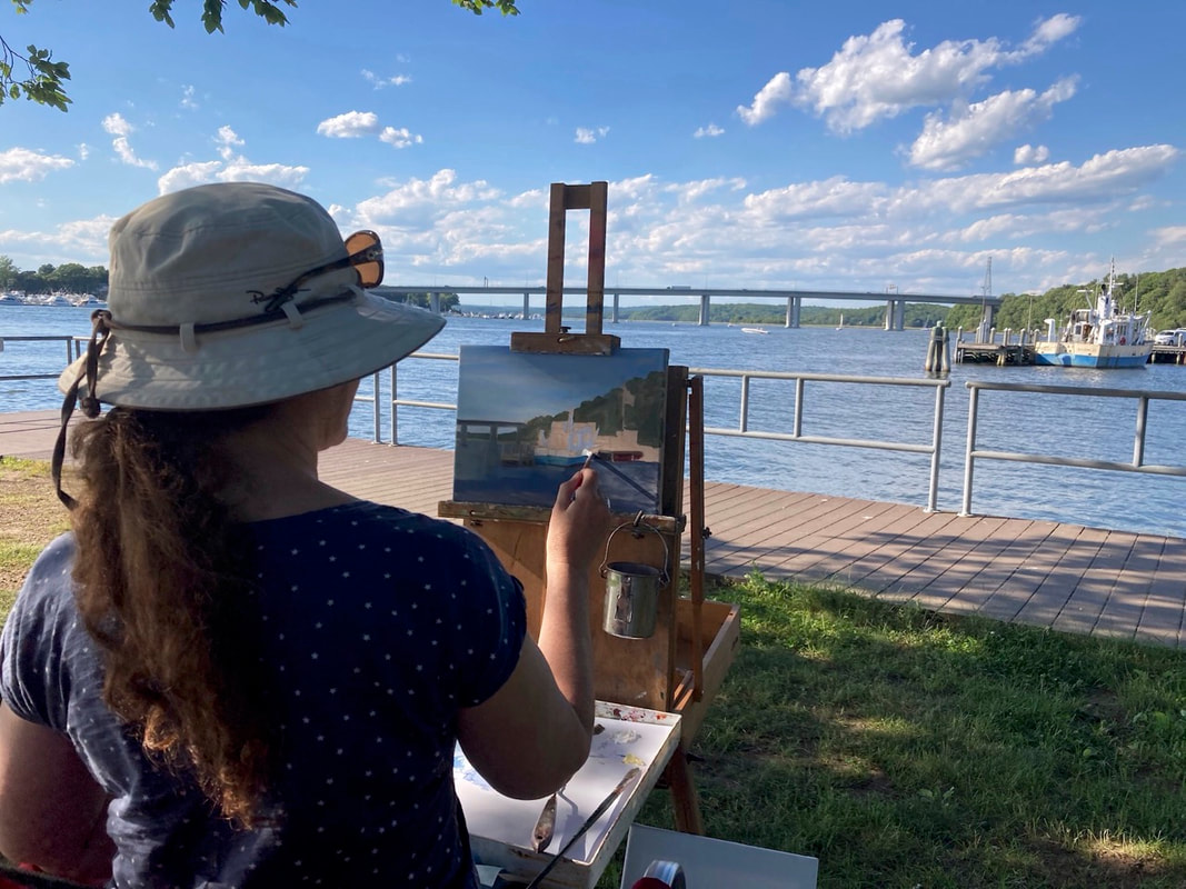 local-artist-Linda-Marino-painting-on-location-at-ferry-landing-park-old-lyme-Ct