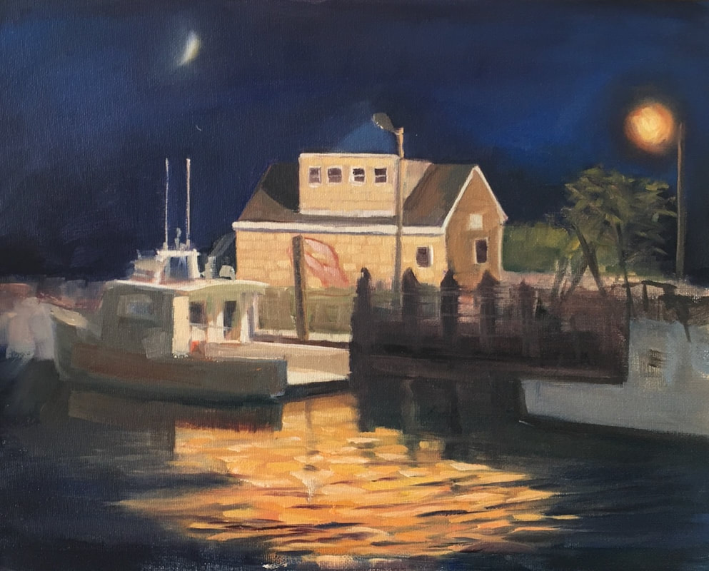 Boat painting at night by Linda S Marino