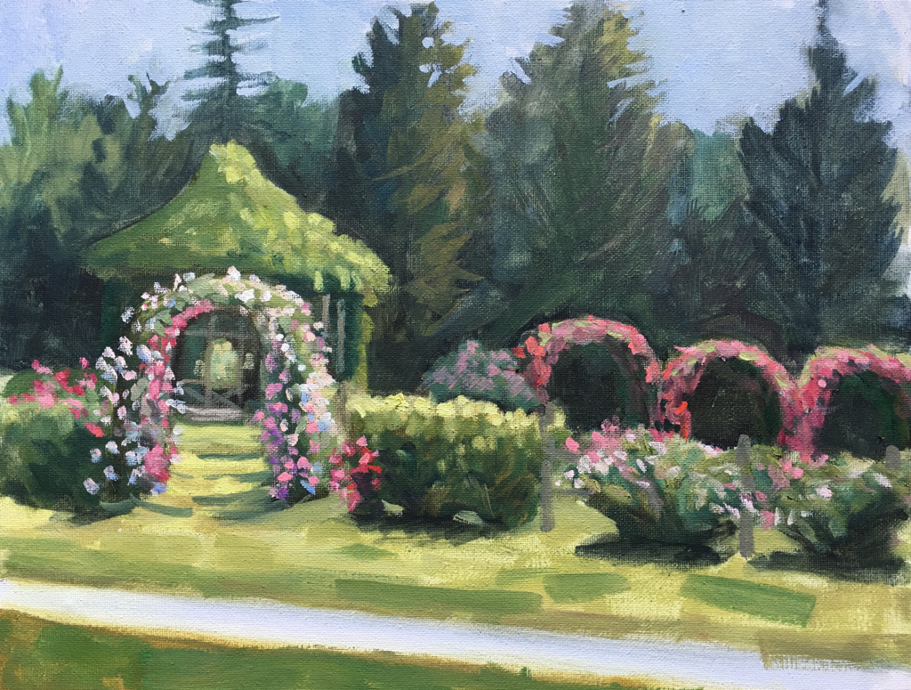 Rose Garden Painting at Elizabeth Park W Hartford CT by Linda S. Marino