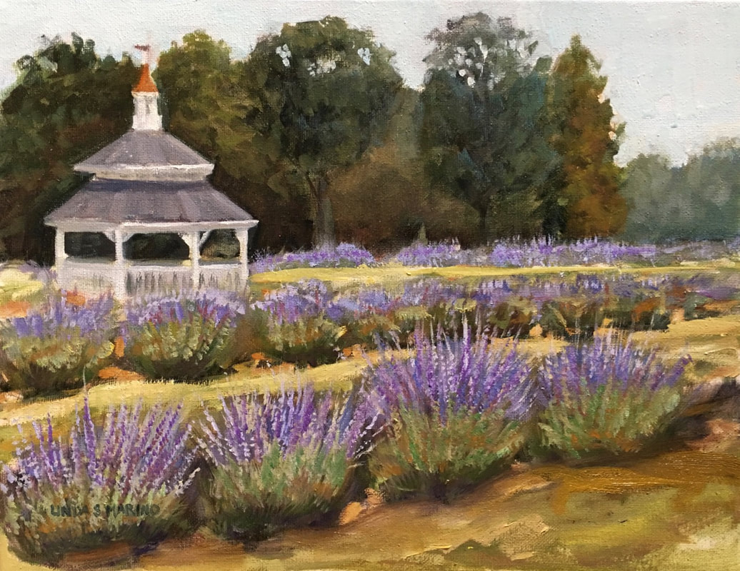 Lavender field oil painting by Linda S. Marino