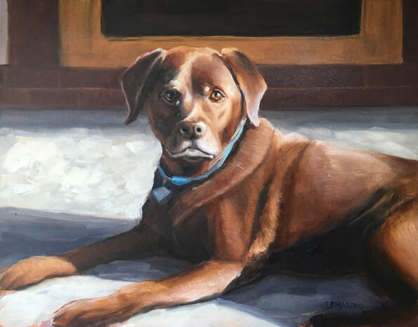 Chocolate Lab Oil Painting by Linda S Marino