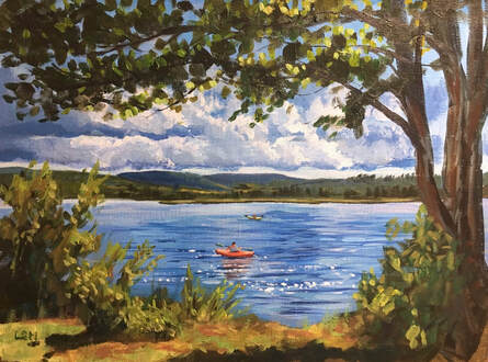 Lake painting by Linda S Marino