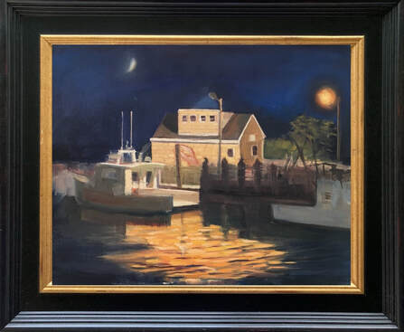 lobster boat oil painting framed by Linda S Marino