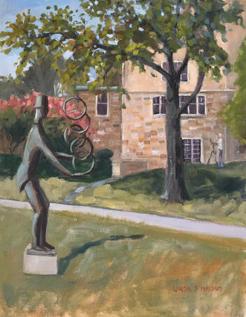 Painting of outdoor Sculpture at New Britain Museum of American Art