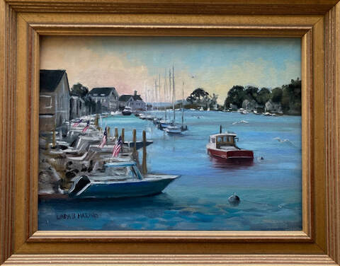 boat painting of Rowayton, Ct framed in gold frame