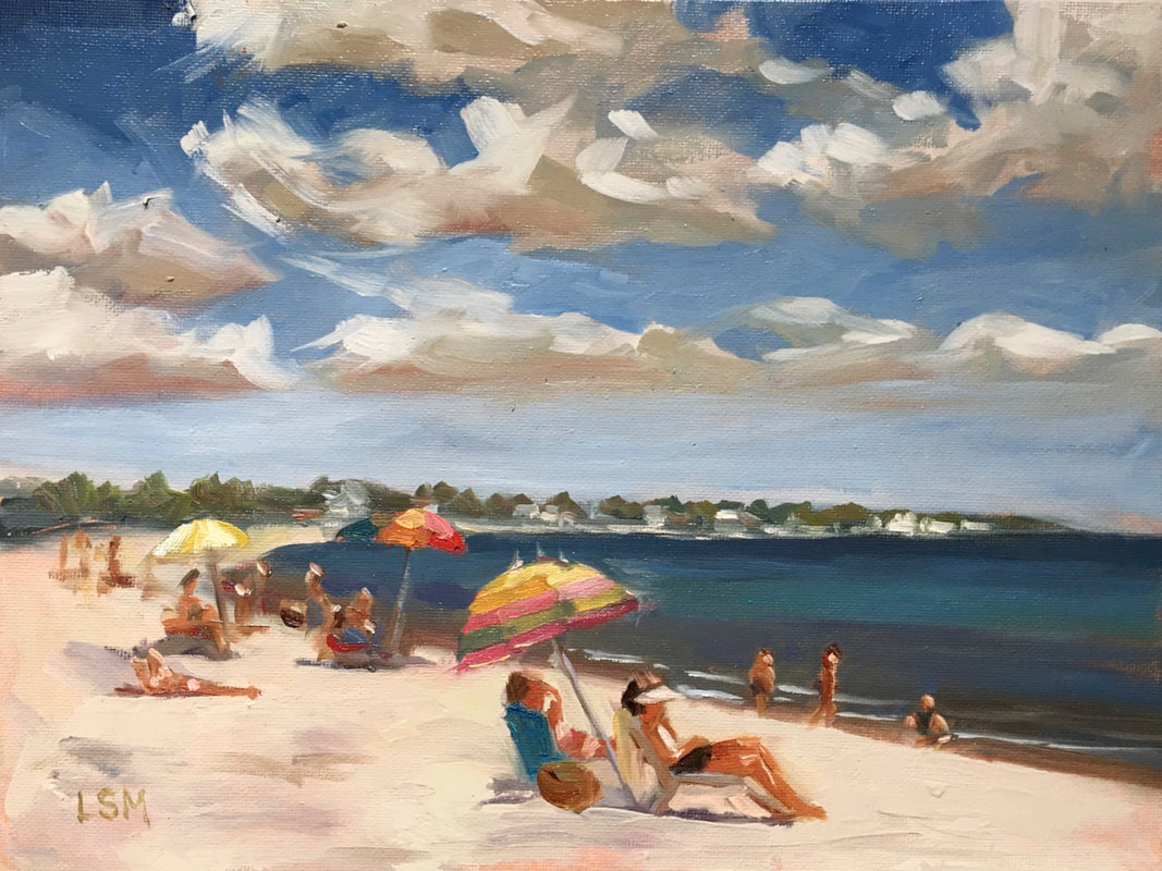 Swept Away oil painting of a Beach Scene with Umbrellas and clouds - Connecticut Coast by Linda S Marino