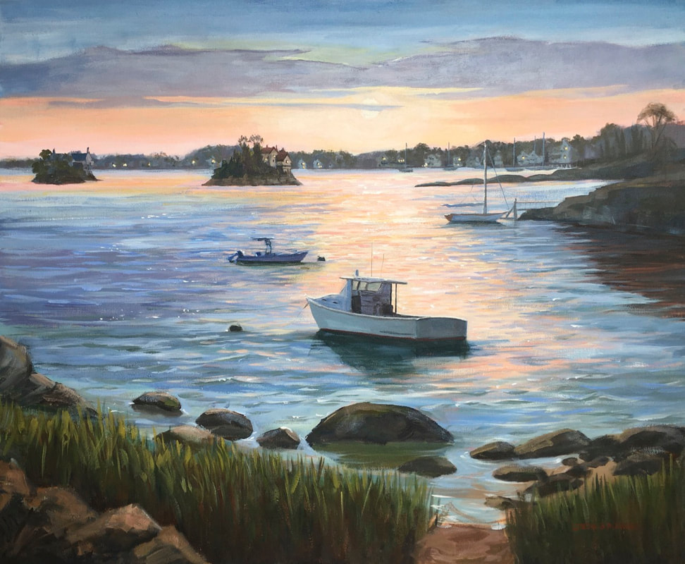 Sunset painting of boats and New England coast by Linda S Marino