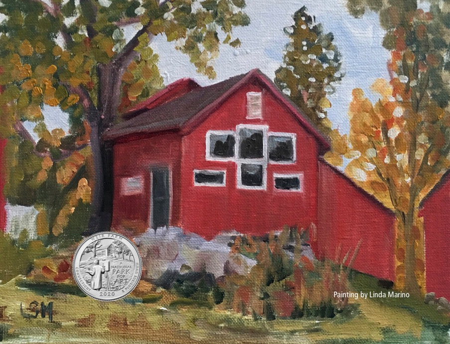 Weir Farm Red Studio painting with silver emblem